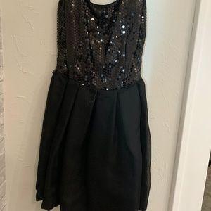 Black halter cut dress, sequins on top
